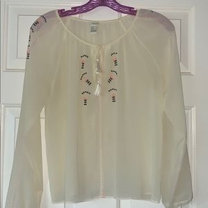Forever 21 cream blouse w/ pink and black accents